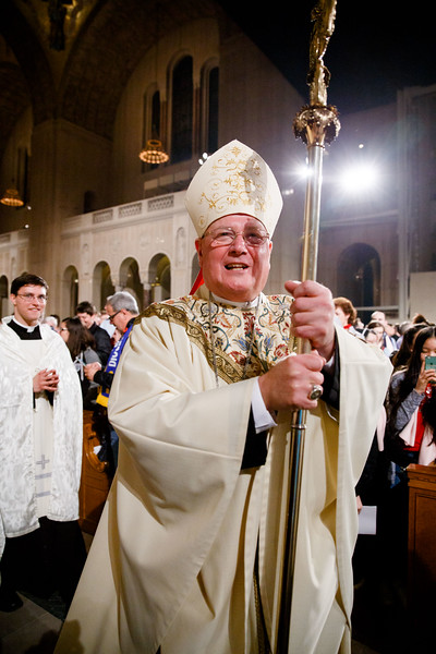 New York Cardinal Timothy Dolan greets participants in the Vigil Mass for Life, held Jan. 26 at the Basilica of the National Shrine of the Immaculate Conception in Washington, D.C. <br /> Pilot photo/ Gregory L. Tracy