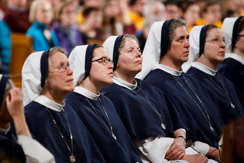 Religious women listen as New York Cardinal Timothy Dolan delivers his homily at Vigil Mass for Life, held Jan. 26 at the Basilica of the National Shrine of the Immaculate Conception in Washington, D.C. <br /> Pilot photo/ Gregory L. Tracy