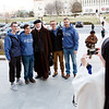 Cardinal Sean O'Malley poses for photo with college students outside the Basilica of the National Shrine of the Immaculate Conception in Washington, D.C., Jan. 26 .<br /> Pilot photo/ Gregory L. Tracy