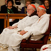 Boston Cardinal Sean O'Malley and Washington Cardinal Donald Wuerl listen as New York Cardinal Timothy Dolan delivers his homily at Vigil Mass for Life, held Jan. 26 at the Basilica of the National Shrine of the Immaculate Conception in Washington, D.C. <br /> Pilot photo/ Gregory L. Tracy