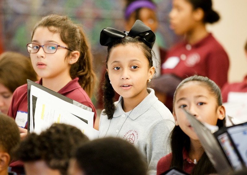 Students from Catholic schools of the Archdiocese of Boston gather at Pastoral Center for Mission Education Day sponsored by the Pontifical Mission Societies of the archdiocese, Oct. 3, 2019.<br /> Pilot photo/ Gregory L. Tracy