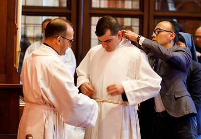 The May 18, 2019 ordination Mass of Fathers Christopher Boyle, Marcos Enrique, Timothy Hynes, Brian O'Hanlon, Mark Olejnik, William Robinson, Corey Rouse, and Paul Wargovich from St. John's Seminary in Brighton; Fathers Joseph Almeida, Maciej Araszkiewicz, Przemyslaw Kasprzak, and Victor Vitug from Redemptoris Mater Archdiocesan Missionary Seminary in Brookline; and Father Corey Bassett-Tirrell from Pope St. John XXIII National Seminary in Weston. Pilot photo/ Gregory L. Tracy