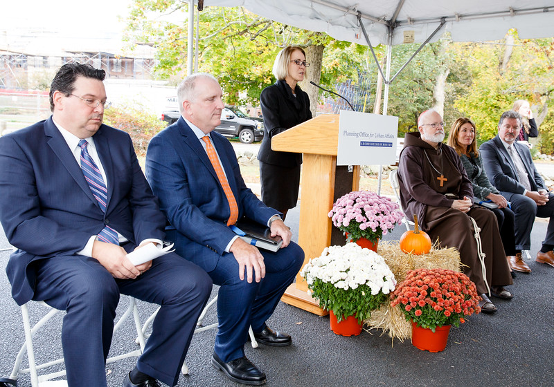 Cardinal Seán P. O'Malley and Lt. Governor Karyn Polito celebrate the groundbreaking of Bethany Apartments affordable and workforce housing at the Cardinal Cushing Centers in Hanover, Oct. 23, 2017.<br /> Pilot photo/ Gregory L. Tracy