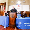 Bishops-elect Mark O'Connell and Robert Reed answer questions for the media at St. John's Seminary in Brighton June 3.<br /> Pilot photo/ Gregory L. Tracy