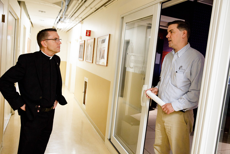 Bishop-elect Robert Reed visits the CatholicTV studios in Watertown on the morning of June 3, shortly after it was announced that Pope Francis had named him auxiliary bishop of the Archdiocese of Boston.<br /> Pilot photo/ Gregory L. Tracy