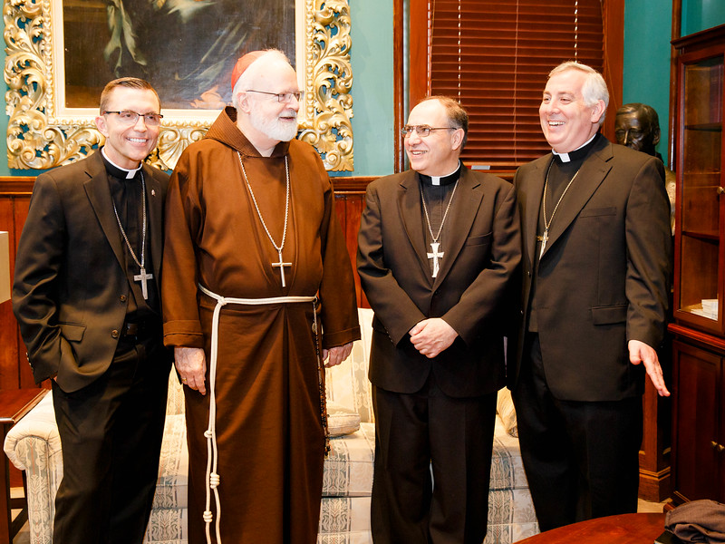 Bishops-elect Robert Reed and Mark O'Connell meet with Cardinal Sean P. O'Malley and Vicar General Bishop Peter Uglietto before their press conference June 3.<br /> Pilot photo/ Gregory L. Tracy