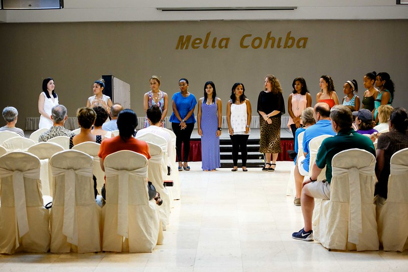 Sept. 19, 2015 –  Boston pilgrims experience a performance of the female acapella choral group Choro Luna at their hotel.<br /> Pilot photo/ Gregory L. Tracy
