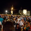 Boston pilgrims in Cuba for the visit of Pope Francis make their way to Havana's Revolution Square in the early morning hours of September 20, 2015 for a Mass celebrated by the pope.<br /> Pilot photo/Gregory L. Tracy