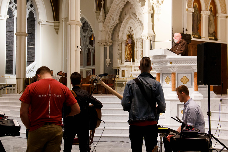 The inaugural Connect Boston event for students and young professionals at the Cathedral of the Holy Cross and Cathedral High School, Oct. 2, 2019 . Pilot photo/Jacqueline Tetrault