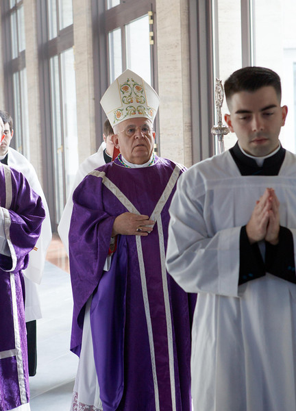 Cardinal Sean P.  O'Malley and celebrates Sunday Mass with other American Cardinals and  Archbishop Joseph Augustine Di Noia, O.P. at the Pontifical North American College March 3, 2013. <br /> During the Mass about 50 seminarians —  including those from the Dioceses of Fall River and Worcester — received the order of acolyte, one of the steps in advancing towards the priesthood.<br /> Pilot photo/ Gregory L. Tracy