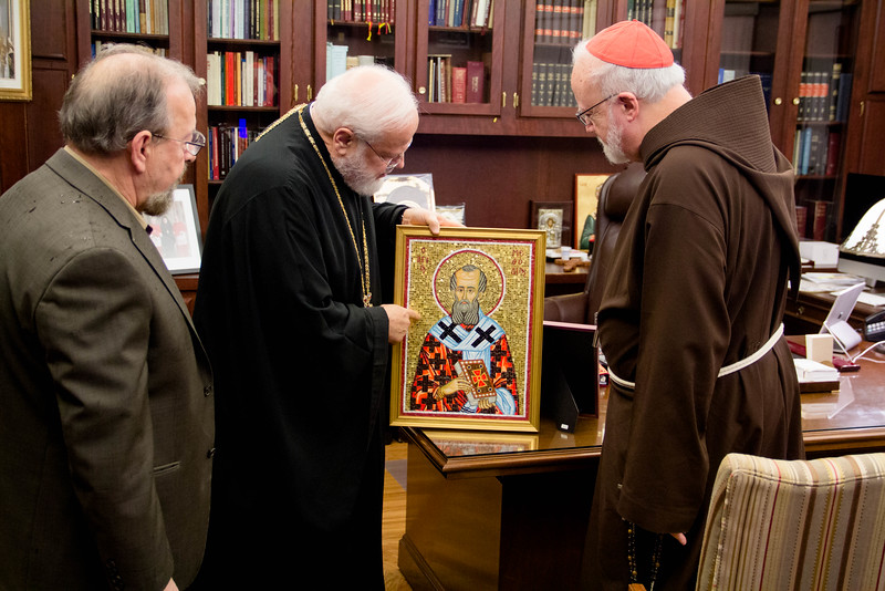 Cardinal O'Malley attends the Vespers celebration led by Metropolitan Methodios for the Feast of St. Andrew at the Greek Orthodox Metropolis of Boston, Nov. 29, 2016.<br /> Pilot photo/ Mark Labbe