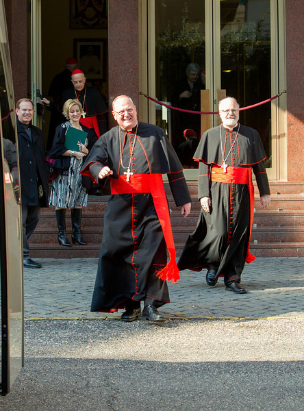 New York Cardinal Timothy Dolan and Boston Cardinal Sean O'Malley leave the Pontifical North American College in Rome on their way to a final meeting with Pope Benedict XVI February 28, 2013.<br /> Pilot photo/Gregory L. Tracy