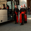 Cardinals Donald Wuerl, Daniel DiNardo and Roger Mahony board a bus at Pontifical North American College in Rome on their way to a final meeting with Pope Benedict XVI February 28, 2013.<br /> Pilot photo/Gregory L. Tracy