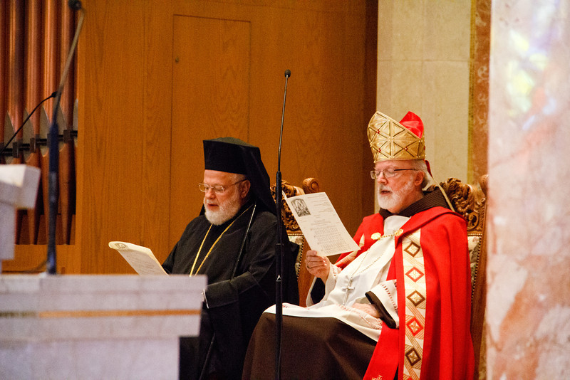 Ecumenical Vespers service presided by Cardinal Sean P. O'Malley and Greek Orthodox Metropolitan Methodios at St. Joseph Church in Needham June 28, 2013. The Catholic and Orthodox communities in Boston exchange delegations on the feasts of the their patrons saints — St. Andrew for the Orthodox in November and Sts. Peter and Paul for the Catholics in June. <br /> Pilot photo by Christopher S. Pineo