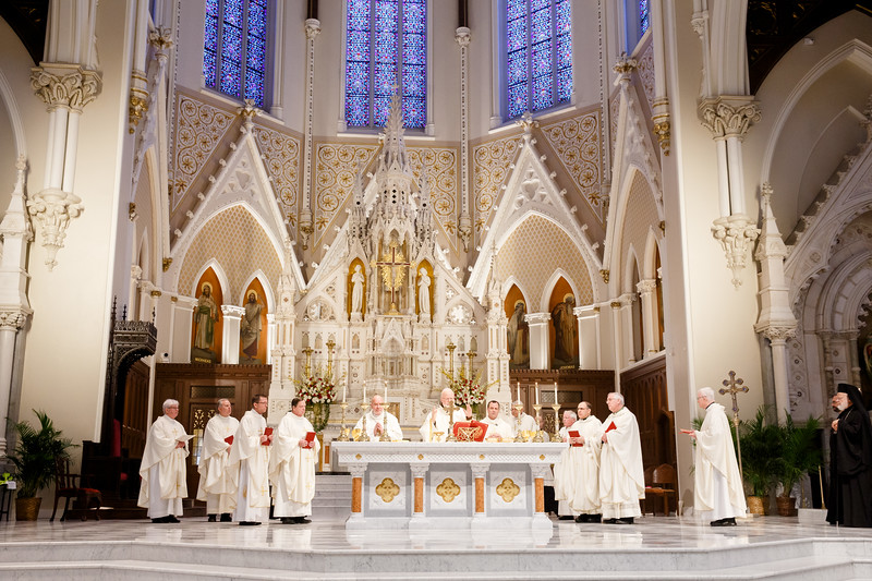 Cardinal O'Malley celebrates the annual Chrism Mass at the Cathedral of the Holy Cross April 16, 2019. The Mass, held during Holy Week, is an occasion to bless the scared oils for use in the coming year and for priests to renew their vows. (Pilot photo/ Gregory L. Tracy)