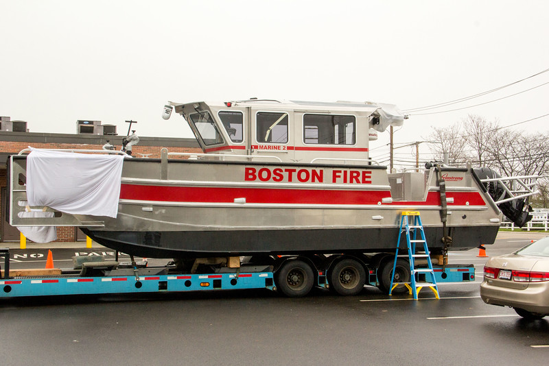 "Dedication of the Boston Fire Dept. fire boat, the ""Father Dan,"" honoring fire chaplain Father Daniel Mahoney at Florian Hall in Dorchester, May 7, 2016. Pilot photo/ Mark Labbe"
