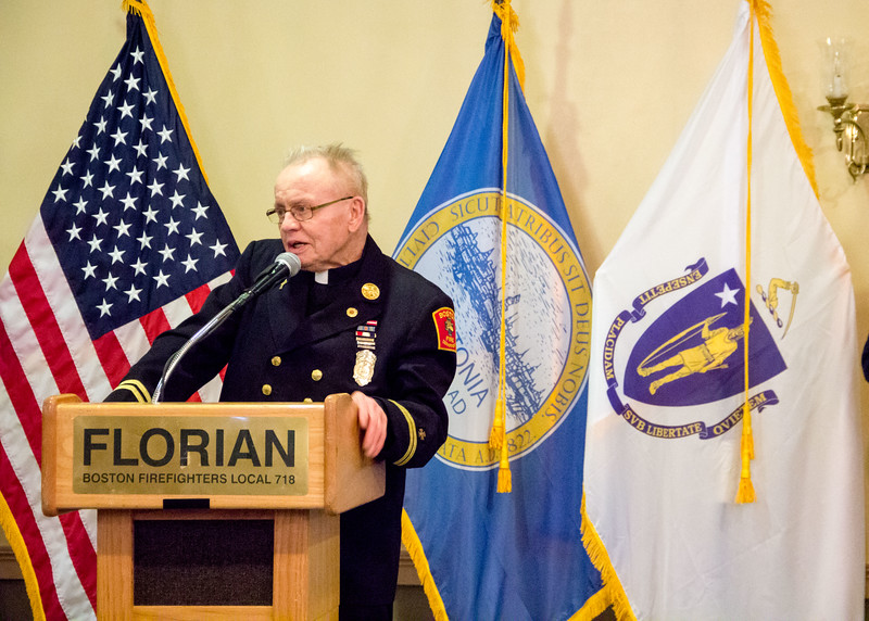 """Dedication of the Boston Fire Dept. fire boat, the """"Father Dan,"""" honoring fire chaplain Father Daniel Mahoney at Florian Hall in Dorchester, May 7, 2016. Pilot photo/ Mark Labbe"""