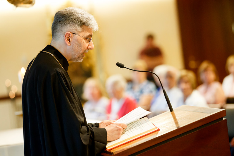 Father Demetrios Tonias, representing the Greek Orthodox Metropolis of Boston, joins the archdiocese's celebration of the feast of Sts. Peter and Paul at the Pastoral Center June 28, 2019.  The Mass was celebrated by Bishop Arthur Kennedy. Pilot photo/Gregory L. Tracy