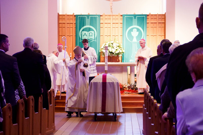 The funeral Mass for retired Boston Auxiliary Bishop Francis X. Irwin, Nov. 2, 2019 at St. Raphael Church in Medford. (Pilot photo/ Jacqueline Tetrault)