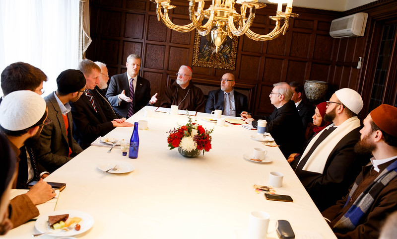 Gov. Charlie Baker addresses Muslim leaders at a gathering hosted by Cardinal O'Malley to bring Boston-area Muslim community leaders together with representatives of the local Catholic and Greek Orthodox Churches and government officials, including Gov. Baker, Boston Mayor Martin Walsh and Boston Police Commissioner William Evans, at the rectory of the Cathedral of the Holy Cross Feb. 2, 2017.<br /> Pilot photo/ Gregory L. Tracy