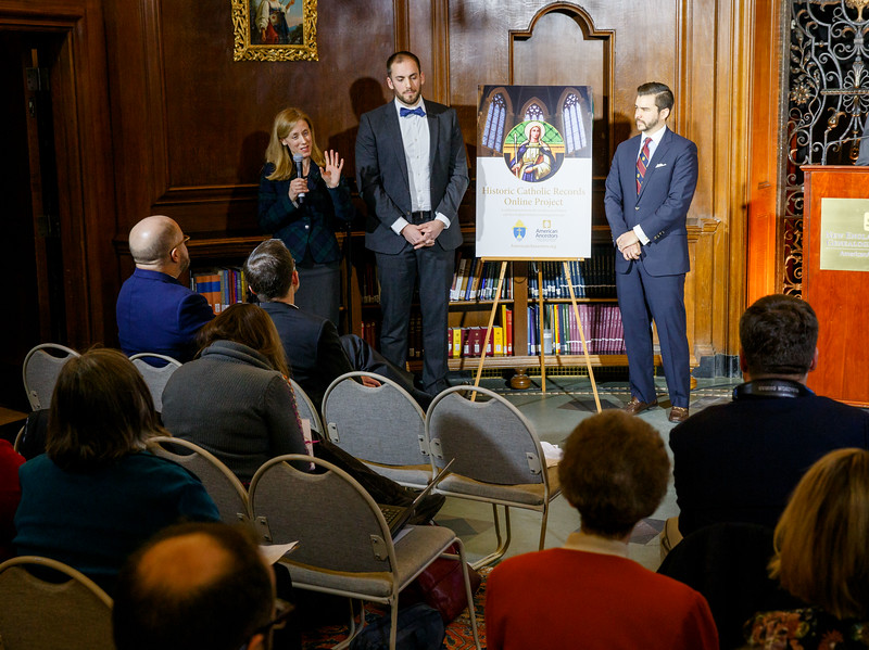 Officials from the Archdiocese of Boston and the New England Historical Genealogical Society announce a project that, for the first time, will make historical sacramental records of the archdiocese available online. The announcement was made at the society's headquarters on Newbury Street in Boston, Jan. 10, 2017.<br /> Pilot photo/ Gregory L. Tracy