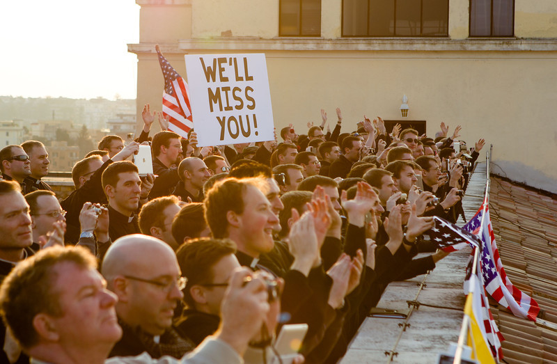 Seminarians at the Pontifical North American College wave to the helicopter carrying Pope Benedict XVI February 28.  Pilot photo/Gregory L.  Tracy