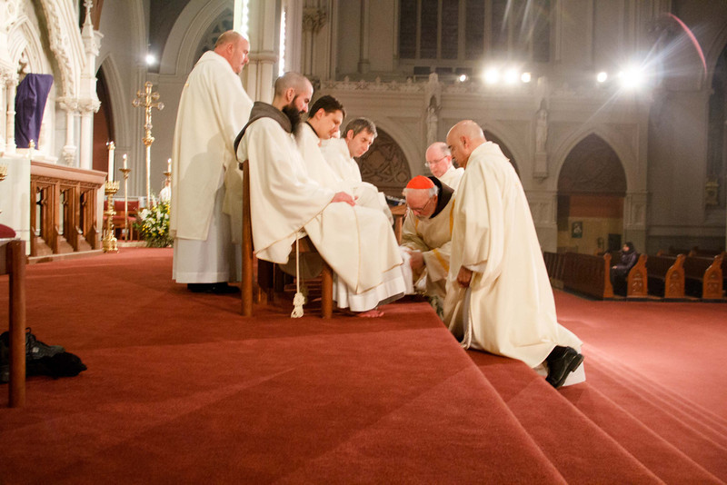 Cardinal O'Malley celebrates the Mass of the Lord's Supper, Holy Thursday, March 28, 2013. During the Mass, the cardinal performed the Washing of the Feet, which recalls Jesus's example of humility and service washing the feet of the Apostles at the Last Supper.