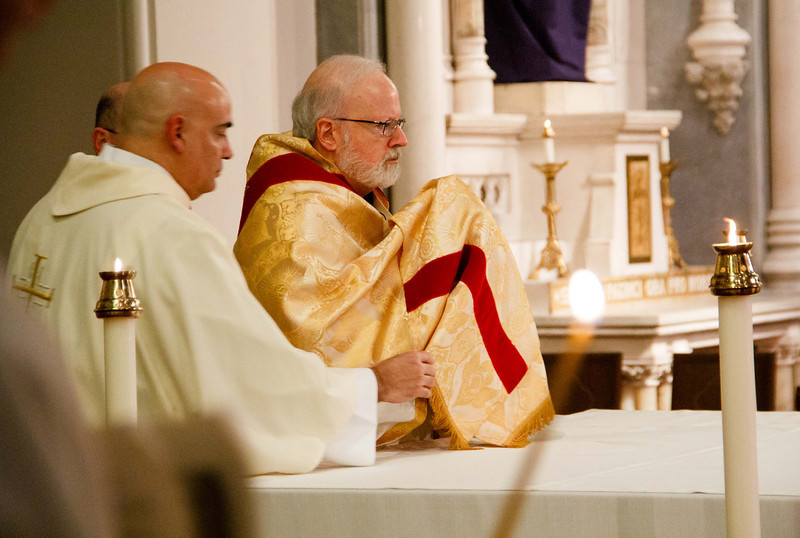 "Cardinal O'Malley celebrates the Mass of the Lord's Supper, Holy Thursday, March 28, 2013. After the Mass, the Blessed Sacrament is placed ""in repose"" in a side chapel until Holy Saturday."
