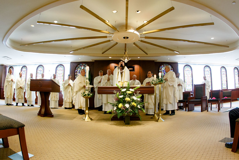Cardinal O'Malley celebrates a special Mass with jubliarian priests and brothers at the Archdiocese of Boston's Pastoral Center May 17, 2017.<br /> Pilot photo/ Gregory L. Tracy