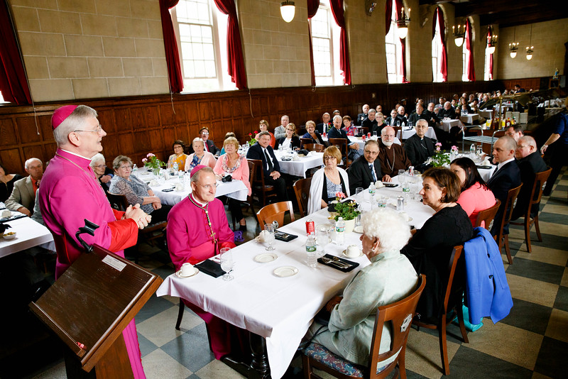 Luncheon reception for Archbishop Paul Russell at St. John's Seminary June 3, 2016.<br /> Pilot photo by Gregory L. Tracy
