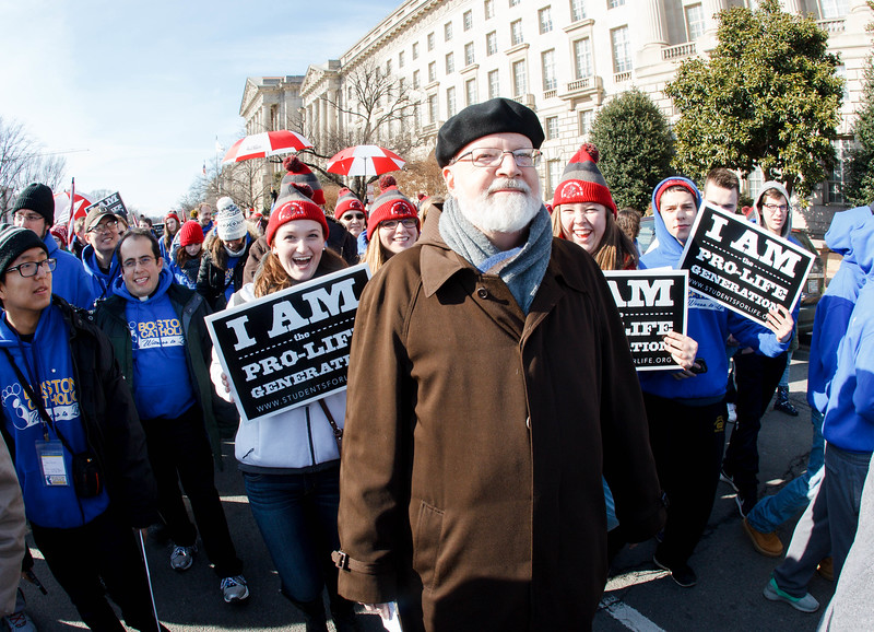 Cardinal Sean P. O'Malley participates in the annual March for Life in Washington, D.C. Jan. 22, 2015.<br /> Pilot photo/ Gregory L. Tracy