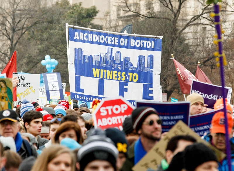Boston pilgrims take part in the annual March for Life in Washington, D.C., Jan. 18, 2019.<br /> Pilot photo/ Gregory L. Tracy