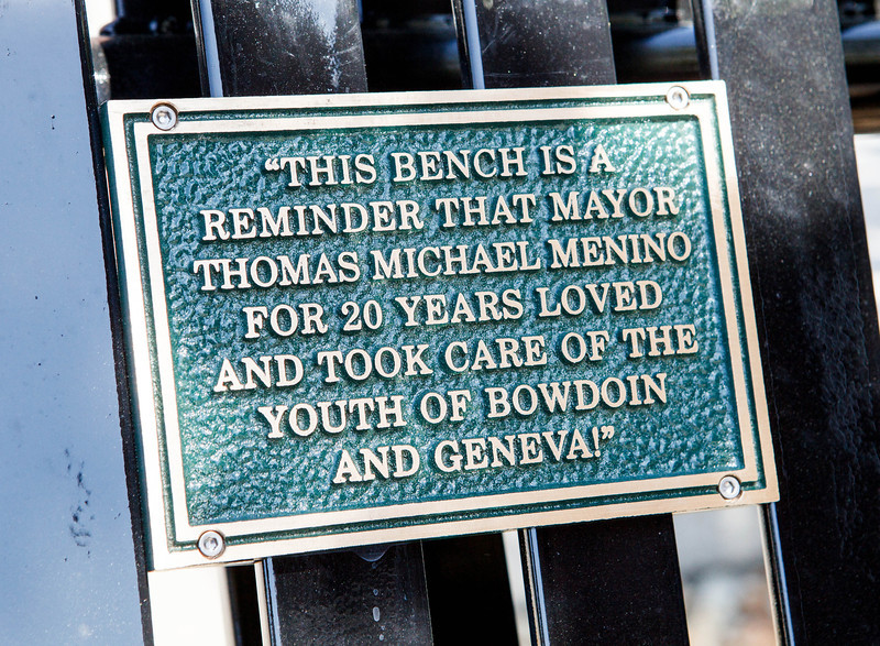 Dedication of a bench in honor of former Boston Mayor Thomas Menino outside Catholic Charities' Teen Center at St. Peter's in Dorchester May 12, 2014.  <br /> Pilot photo/ Gregory L. Tracy