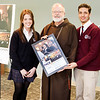 Cardinal Sean P. O'Malley participates in the May 17, 2013 unveiling of the Parents Alliance for Catholic Education (PACE) awareness campaign poster featuring students from St. Joseph's Preparatory School in Brighton, senior Jessica Davidson and junior Alan Checo.<br /> Pilot photo/ Gregory L. Tracy