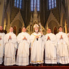 Fathers Michael Sheehan FPO, Eric Bennett, Eric Cadin, Felipe Gonzalez, Adrian Milik and John Healey are pictured with Cardinal Seán P. O'Malley following their ordination June 23, 2012 at the Cathedral of the Holy Cross. (Photo by Gregory L. Tracy, The Pilot)