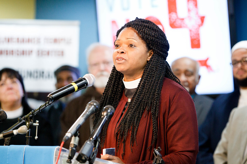 Massachusetts faith leaders opposing Ballot Question 4 rally at Deliverance Temple Worship Center in Dorchester, Nov. 1.<br /> Pilot photo/ Gregory L. Tracy