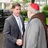 Cardinal Seán P. O'Malley and Boston Mayor Martin Walsh join the celebration of the 50th anniversary of Regina Cleri, the Archdiocese of Boston's residence for senior priests in Boston's West End June 5, 2014.<br /> Pilot photo by Christopher S. Pineo