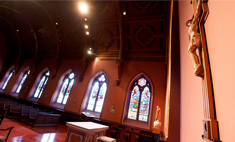 The crucifix that once contained a reliquary with a piece of the true cross hangs in the Blessed Sacrament Chapel of Boston's Cathedral of the Holy Cross July 15, 2010. The relic was discovered stolen by cathedral staff July 1.  Pilot photo/ Gregory L. Tracy