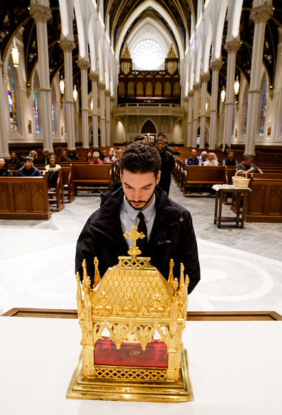 The relic of the incorrupt heart of the St. John Vianney is venerated at the Cathedral of the Holy Cross April 30, 2019.  The period of veneration included a 7 p.m. Mass celebrated by the archdiocese's vicar general, Bishop Peter Uglietto.<br /> Pilot photo/ Gregory L. Tracy