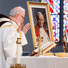The relic of St. Pope John Paul II is displayed next the altar of the Cathedral of the Holy Cross during Mass Sunday June 22, 2014.  Following the Mass, the relic was carried in procession to the cathedral's side chapel for veneration. (Pilot photo by Gregory L. Tracy)