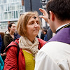 A woman receives ashes outside Boston's new Seaport Chapel Ash Wednesday March 1, 2017.<br /> Pilot photo/ Gregory L. Tracy