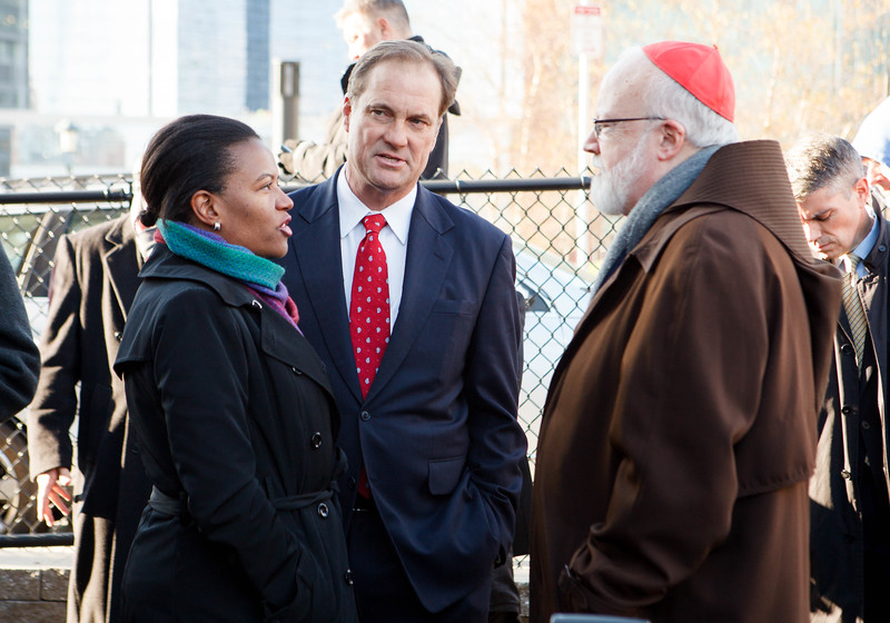 Groundbreaking of the future Our Lady of Good Voyage (Seaport) Chapel on Seaport Blvd. in South Boston, Nov. 21, 2014.<br /> Pilot photo by Gregory L. Tracy