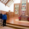 Deacon Tom Palanza and Father Aidan Walsh are pictured in front of the renovated sanctuary of St. Elizabeth Church in Milton. Pilot photo/ Donis Tracy