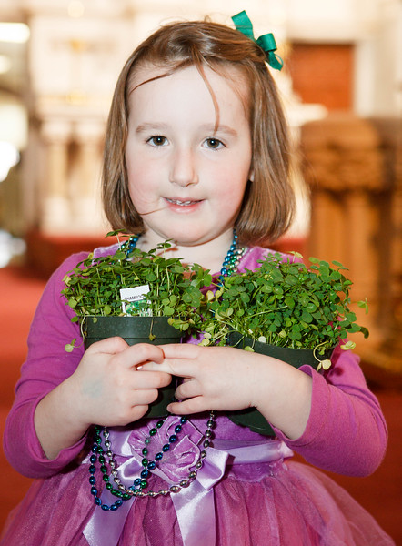 Fiona Gael Mahon of Newburypory collects her blessed shamrocks following the St. Patrick's Day Mass at the Cathedral of the Holy Cross March 17, 2015.<br /> Pilot photo/ Gregory L. Tracy
