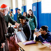 Cardinal Sean O'Malley visits Catholic Charities' Teen Center at St. Peter's in Dorchester, Dec. 24, 2018.<br /> Pilot photo/ Gregory L. Tracy