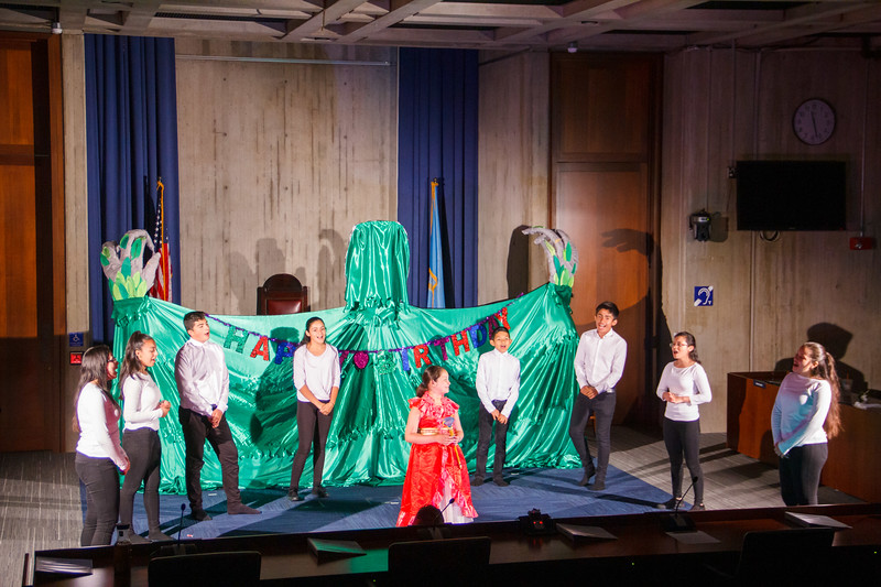 "Children of TPS holders from El Salvador perform their play, ""The Last Dream,"" at Boston City Hall July 10. Pilot photo/Jacqueline Tetrault"