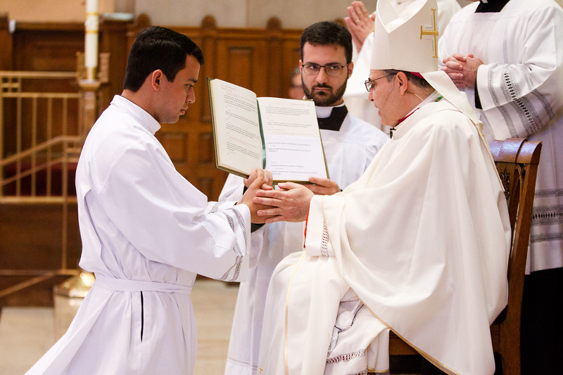 Ordination of transitional deacons for the Archdiocese of Boston, celebrated June 10, 2017 at Holy Name Church, West Roxbury by Bishop Peter J. Uglietto.<br /> Pilot photo/ Gregory L. Tracy
