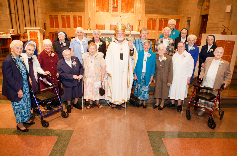Women religious celebrating their 65th and 70th jubilees pictured following the Jubilee Mass at St. Theresa Church, West Roxbury Sept. 20, 2014. Pilot photo/ Gregory L. Tracy