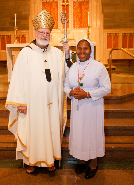 25 year jubilarian Sister Mary Christiana Onyewuche, EHJ is pictured with Cardinal O'Malley following the Jubilee Mass at St. Theresa Church, West Roxbury Sept. 20, 2014. Pilot photo/ Gregory L. Tracy