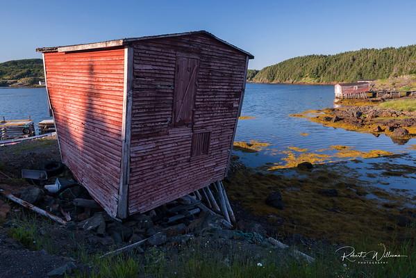 Fishing stores in Herring Neck, Newfoundland